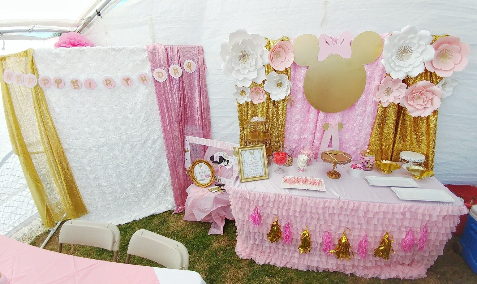 Pink Gold Minnie Mouse Birthday Party Decoration Table Sweet Setup