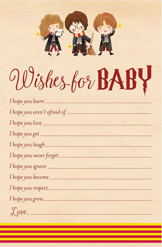 Harry Potter Wishes for Baby - Baby Shower Printable - Harry Potter ...