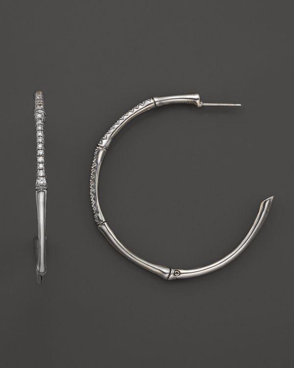 John Hardy Women S Sterling Silver Bamboo Diamond Pave Large Hoop Earrings