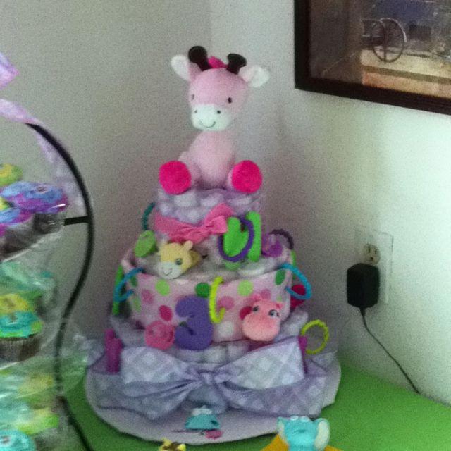 Diaper Cake Easy to make diapers, ribbon, toys