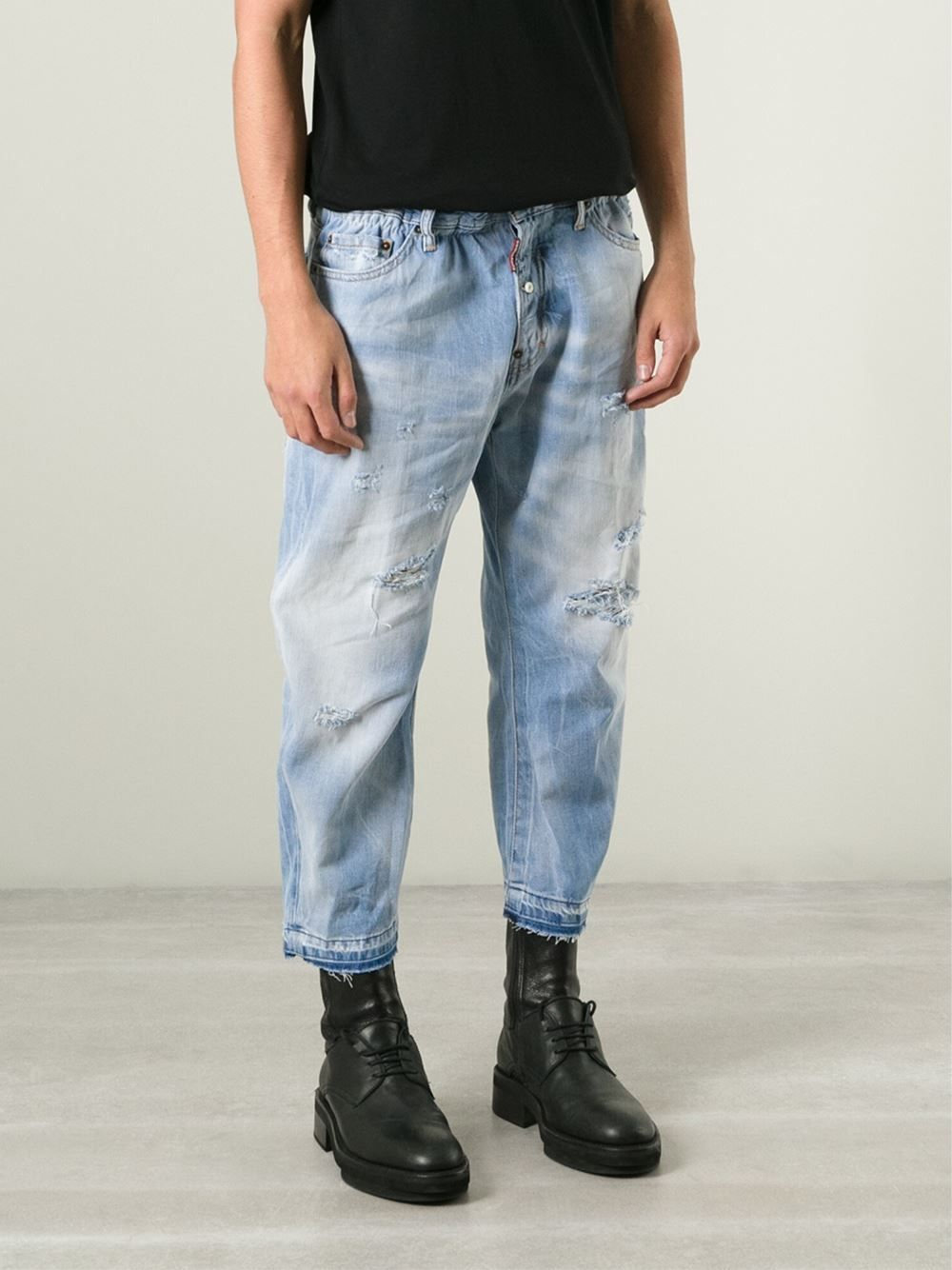 Square cropped mens denim jeans, with slight distress | Denim ...