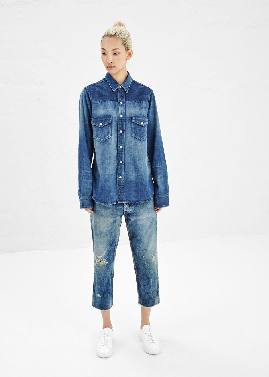 d64c221fad Totokaelo - Chimala Vintage Wash Denim Western Shirt -  432.00 ...