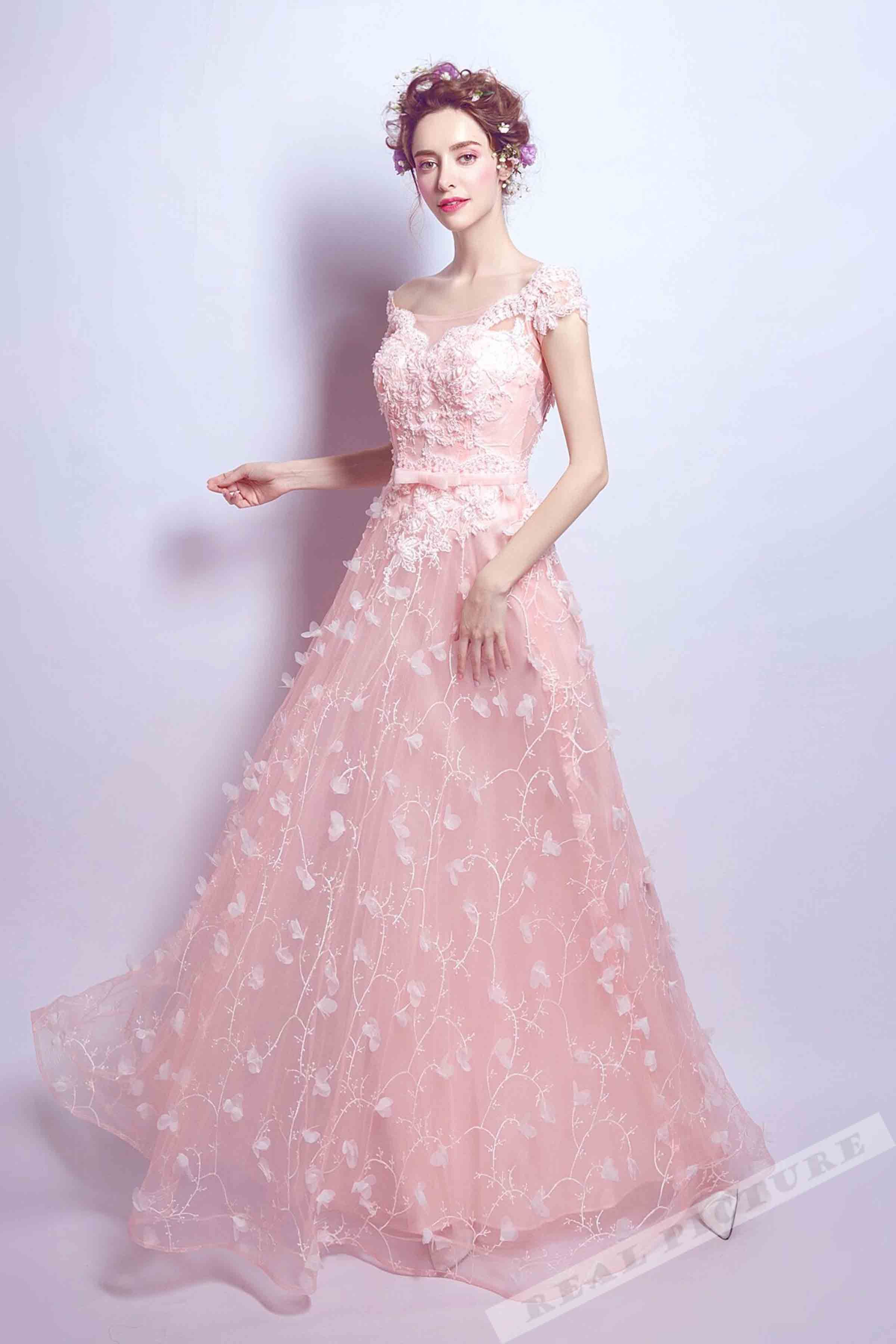 Pink tulle applique floor-length long prom dress with straps from ...