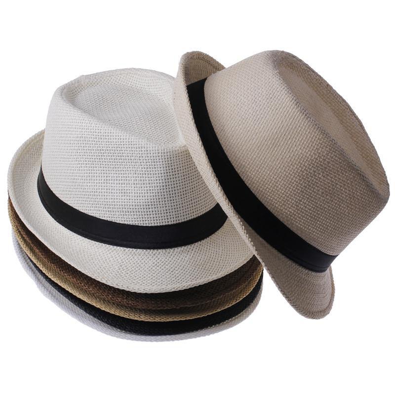 Child hat Summer Beach Sunhat Fedora Trilby Straw Hat boy Girl Gangster Sun Cap Fit for Kids Children