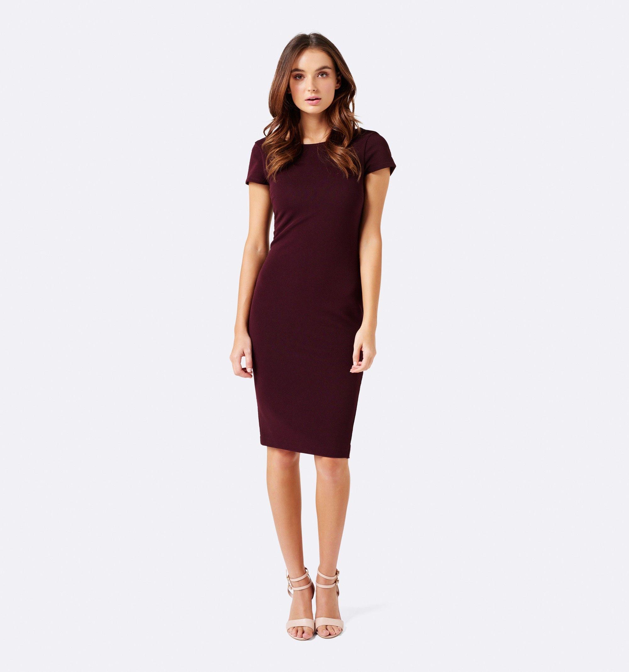 Malory rib pencil dress Wineberry - Womens Fashion | Forever New