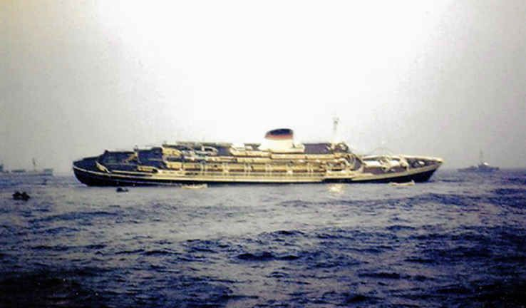 Image result for the andrea doria begins to sink