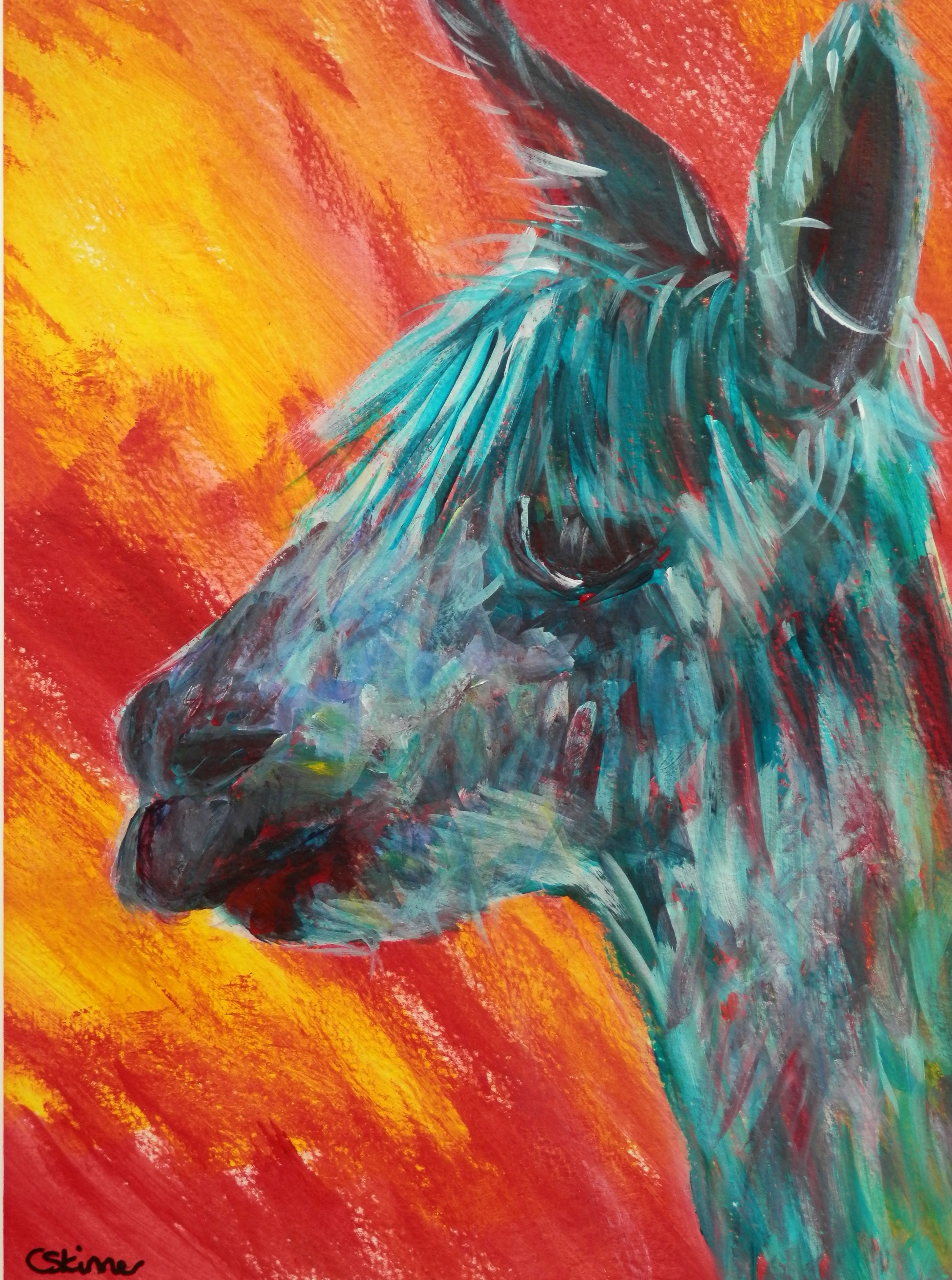 Funky abstract alpaca art - turquoise art - red yellow print ...