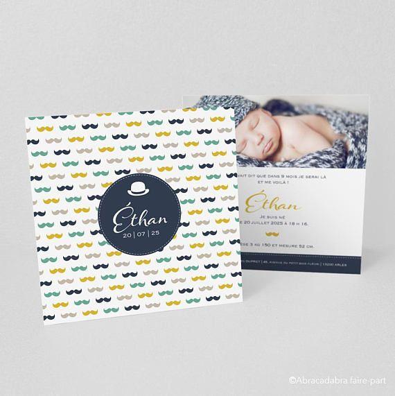 Faire-part naissance ou baptême avec photo, fond avec moustaches multicolores, bleu, vert, jaune, taupe et chapeau melon – Modèle Éthan 1