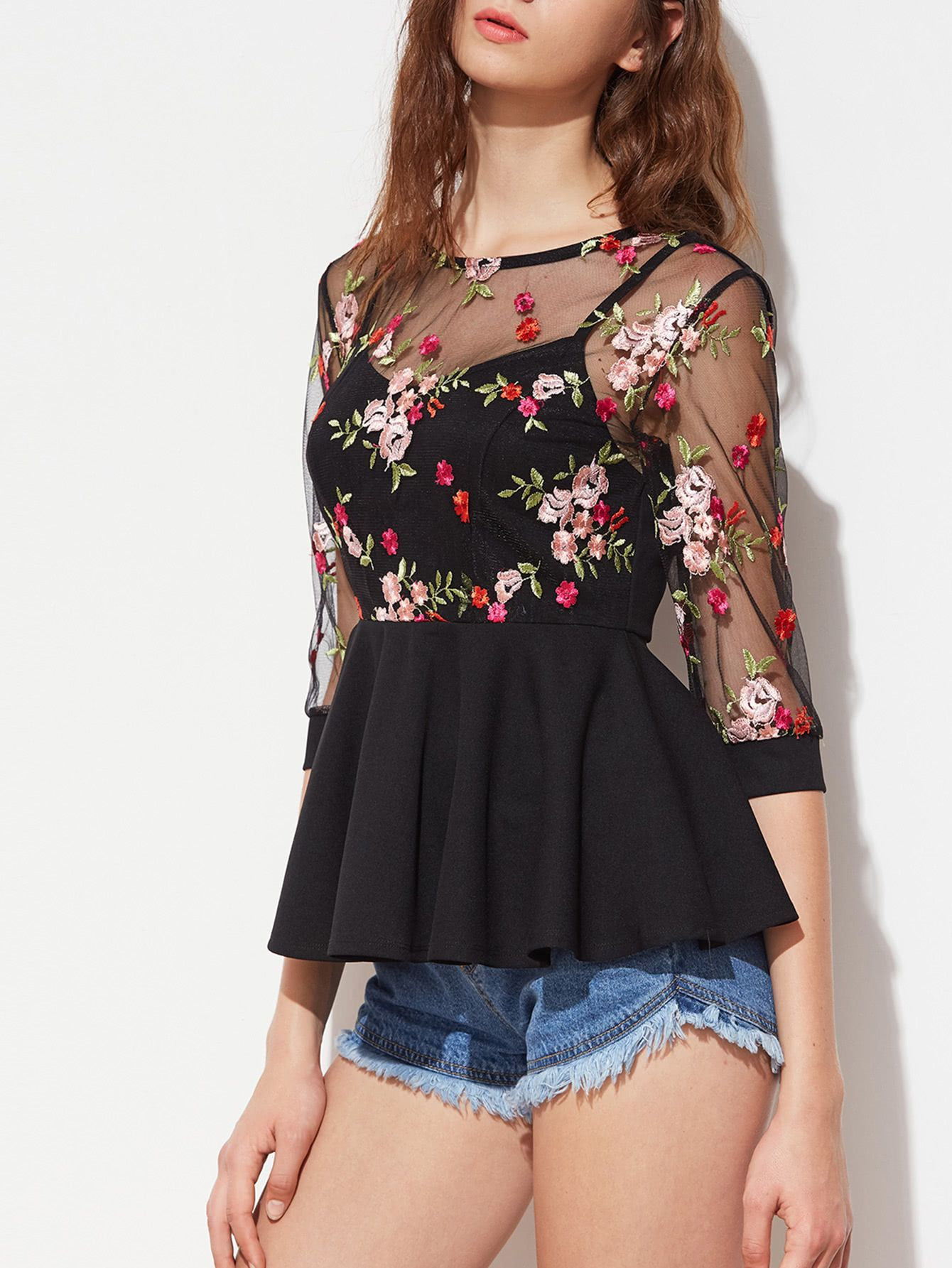 e83745e403d21 Shop Flower Embroidered Mesh Overlay 2 In 1 Peplum Top online. SheIn offers  Flower Embroidered Mesh Overlay 2 In 1 Peplum Top   more to fit your  fashionable ...