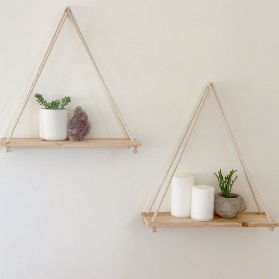 Hanging Shelves [Set of 2] Distressed Wood Hanging Shelf with Hooks | Wall Rope Shelves | Triangle Swing Shelfs | Farmhouse Rustic Decor -   18 home decor diy crafts bedrooms ideas