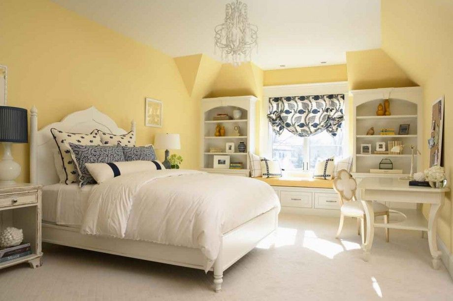 Cute Yellow White Bedroom Interior Ideas   Warm Your Luxury White .