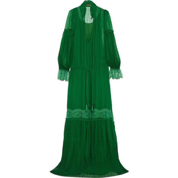 Roberto Cavalli Lace-trimmed plissé silk-chiffon gown (€2.840) ❤ liked on Polyvore featuring dresses, gowns, emerald, roberto cavalli dresses, sleeve evening dress, roberto cavalli gowns, green ruffle dress and flounce dress
