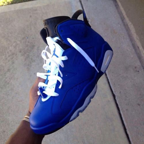 Custom Air Jordan 6s Blue White Sneakers Air Jordan Shoes Cute Shoes
