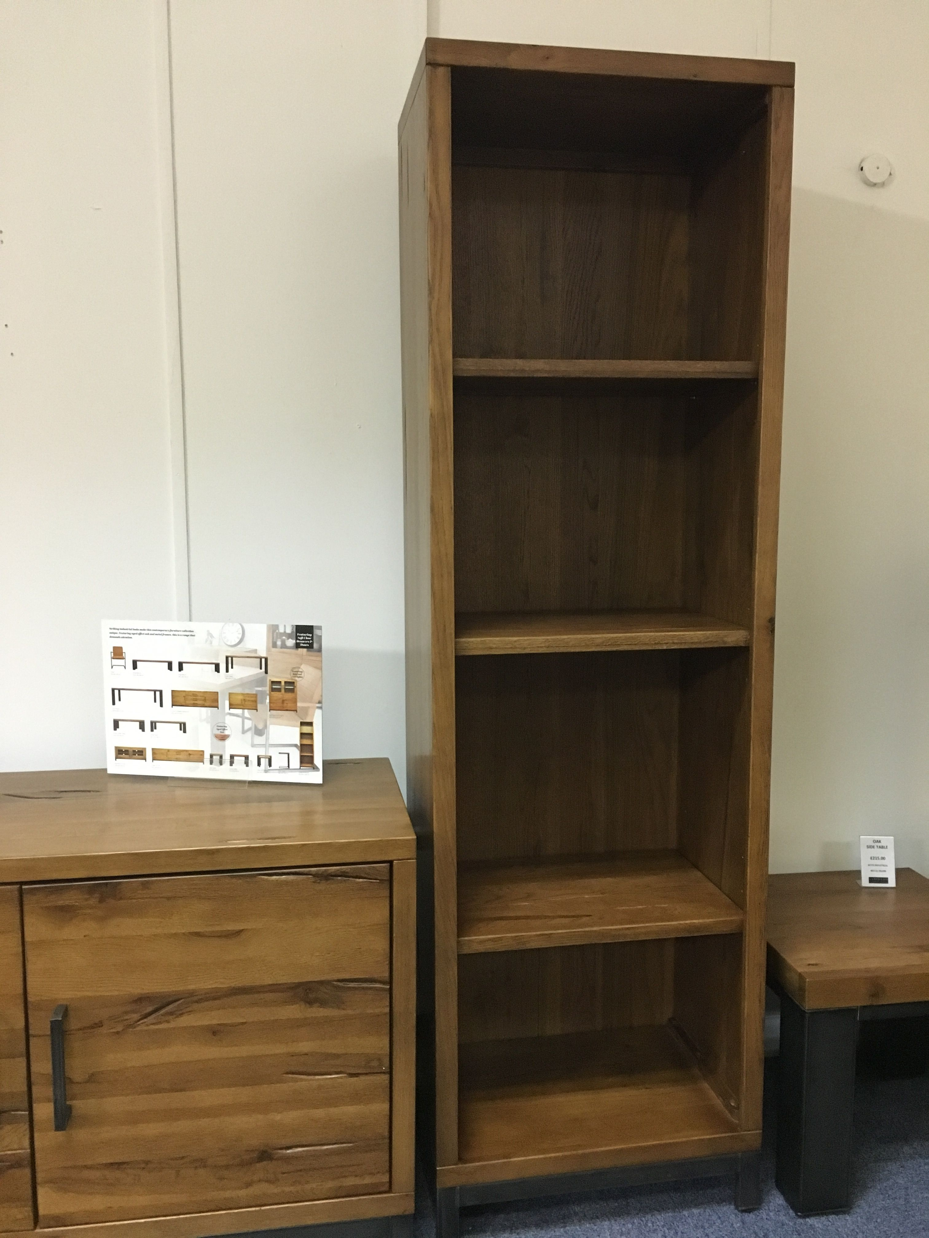Ages Oak Bookcase With Industrial Metal Legs. Cobwebs Furniture Company.