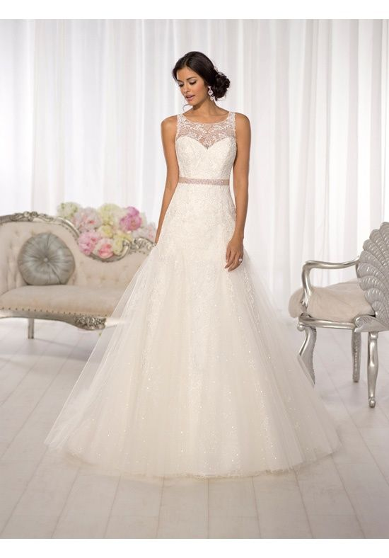 Slim A Line Wedding Gown With Stunning Illusion Lace Neckline And