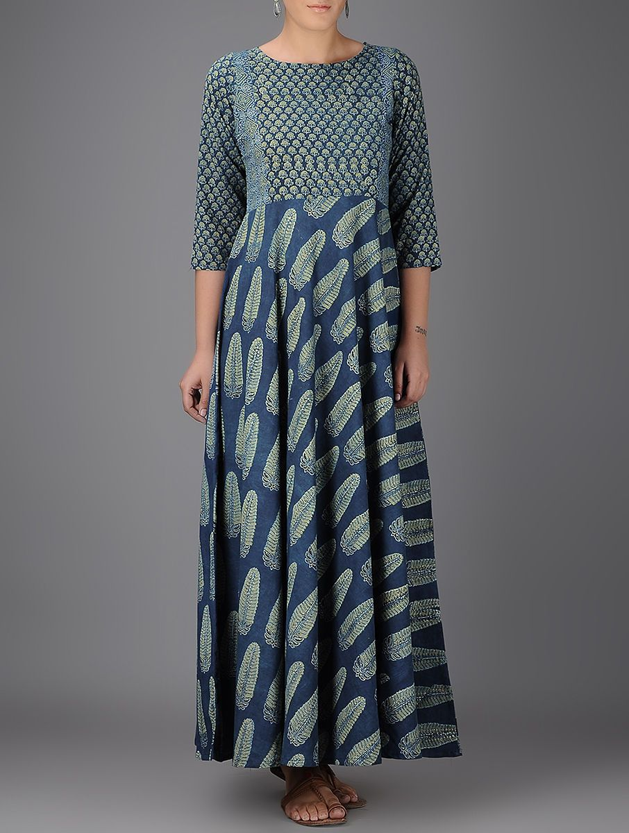 Buy Indigo Ivory Green Ajrakh printed Boat Neck Flared Cotton Kurta Cool in  Casuals Online at Jaypore.com 21f8d1d5be