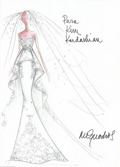 92cce2cb7 Estilistas desenham sugestões de vestidos de noiva para Kim Kardashian, que  se…
