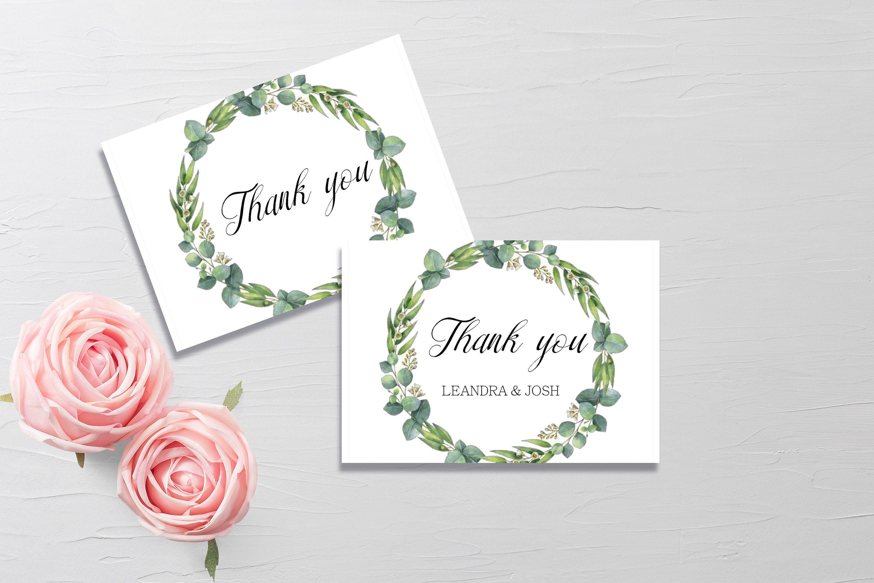 Eucalyptus Thank You CardnPersonalised Floral Bridal