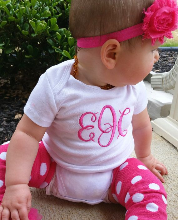 Monogrammed baby girl one-sie outfit - hot pink , baby shower gift ...