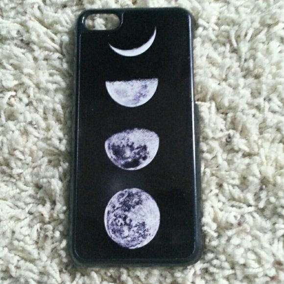 Moon phases Iphone 5c case Used, left side has piece snapped off but still fits over phone well. Accessories Phone Cases