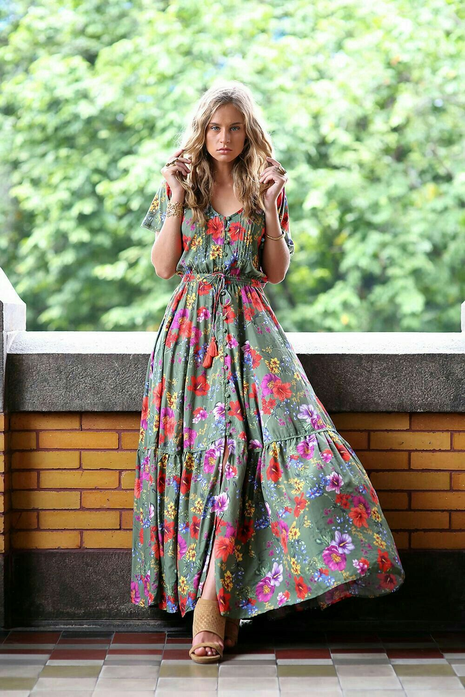 Floral Print Boho Style Hippie Dress Maxi Dress Romantic Maxi Dress Flattering Maxi Dress [ 1500 x 1000 Pixel ]