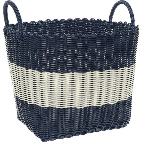 Medium Navy White Storage Basket 17 Liked On Polyvore Featuring Home Home Decor Small Item Stor White Storage Baskets Navy Home Decor Small Item Storage