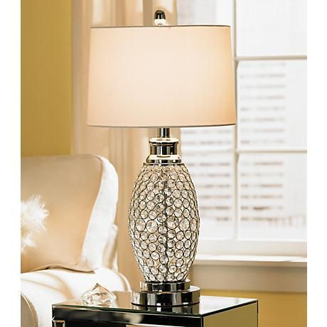 Possini Euro Design Beaded Table Lamp With White Shade Lighting