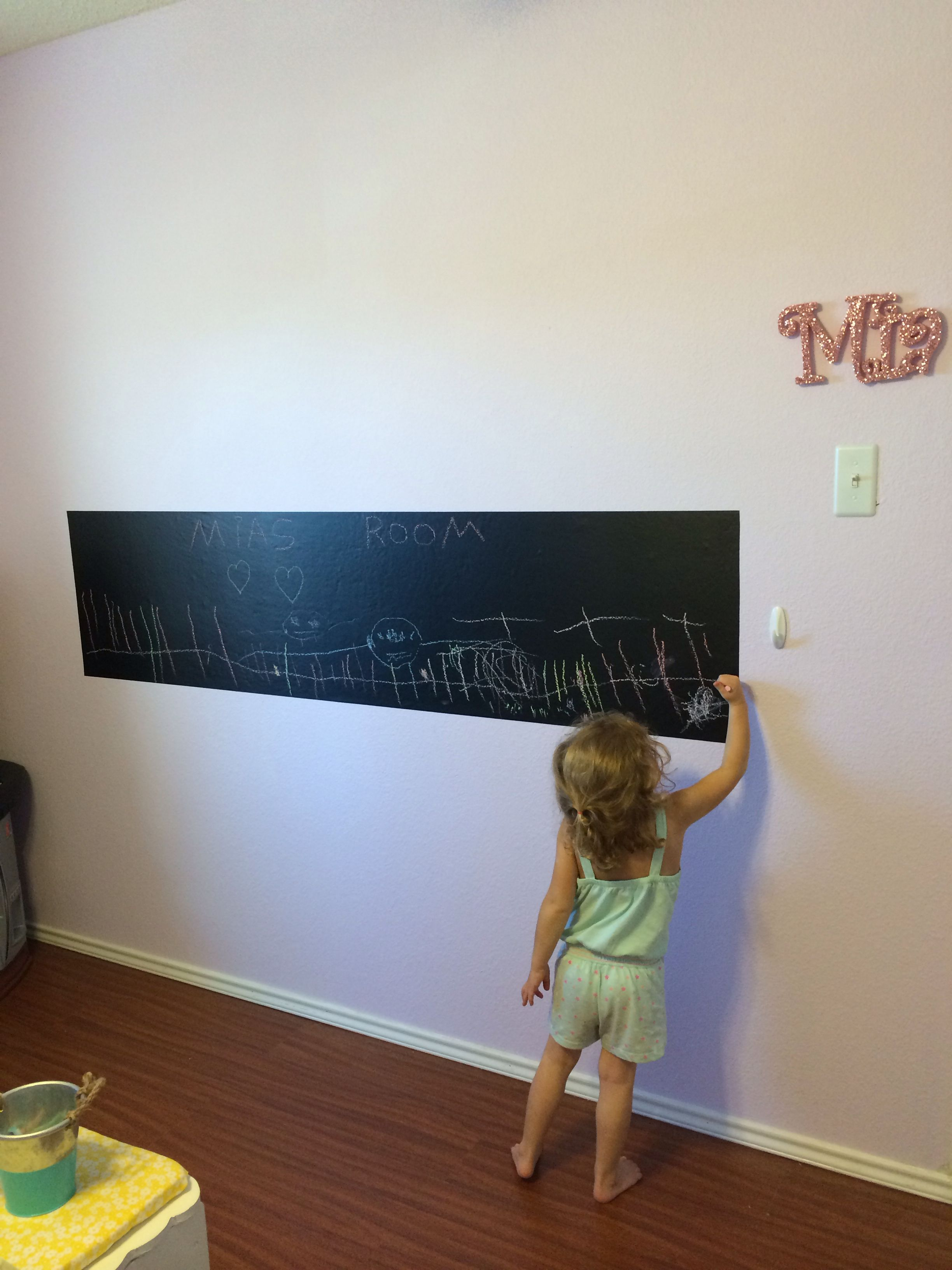 She loves her chalkboard! Chalkboard contact paper at