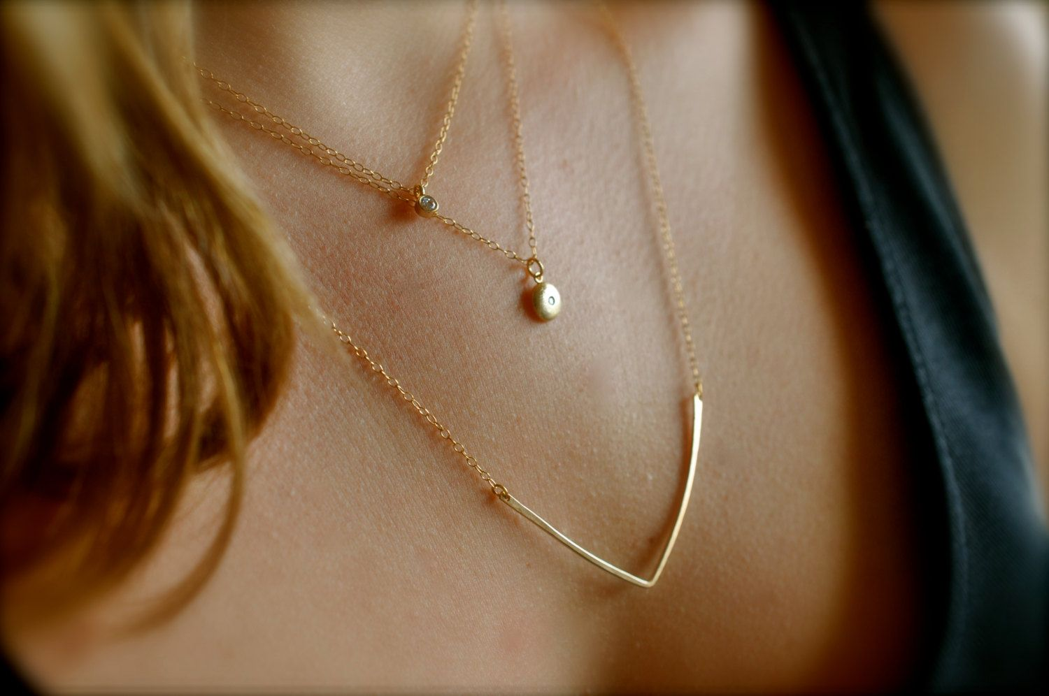 Set of 3 Layering Necklaces, 14K Gold Filled, CZ Diamond, Chevron Bar, by Maldemer made in Belgium