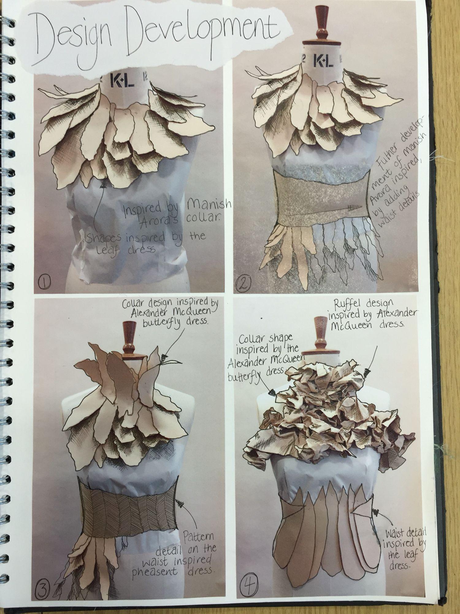 Developing A Range Of Design Ideas On The Mannequin Emma Fashion Design Sketchbook Fashion Design Portfolio Textiles Sketchbook