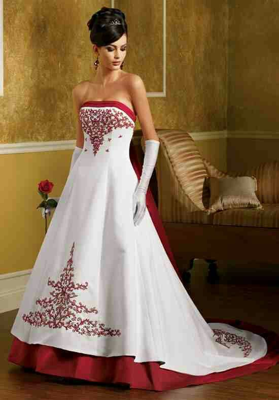Wedding Dress 3 Beautiful Red Trim Red Design Dress With Gloves