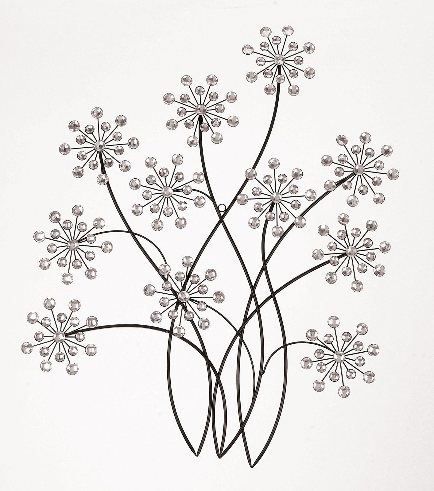 Black Iron Wall Decor Contemporary Black Jeweled Metal Flower Wall Art Sculpture 31x 24
