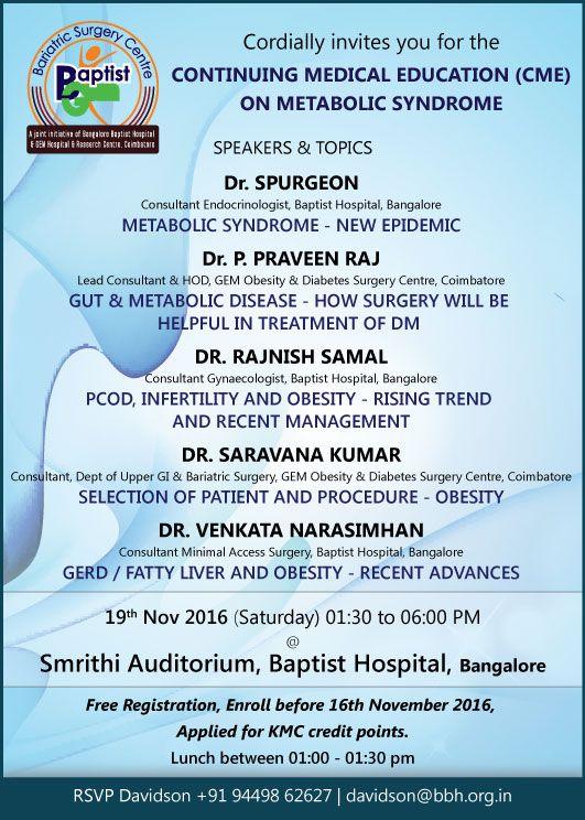 GEM Hospital & Baptist Hospital, Bangalore Cordially invites you for