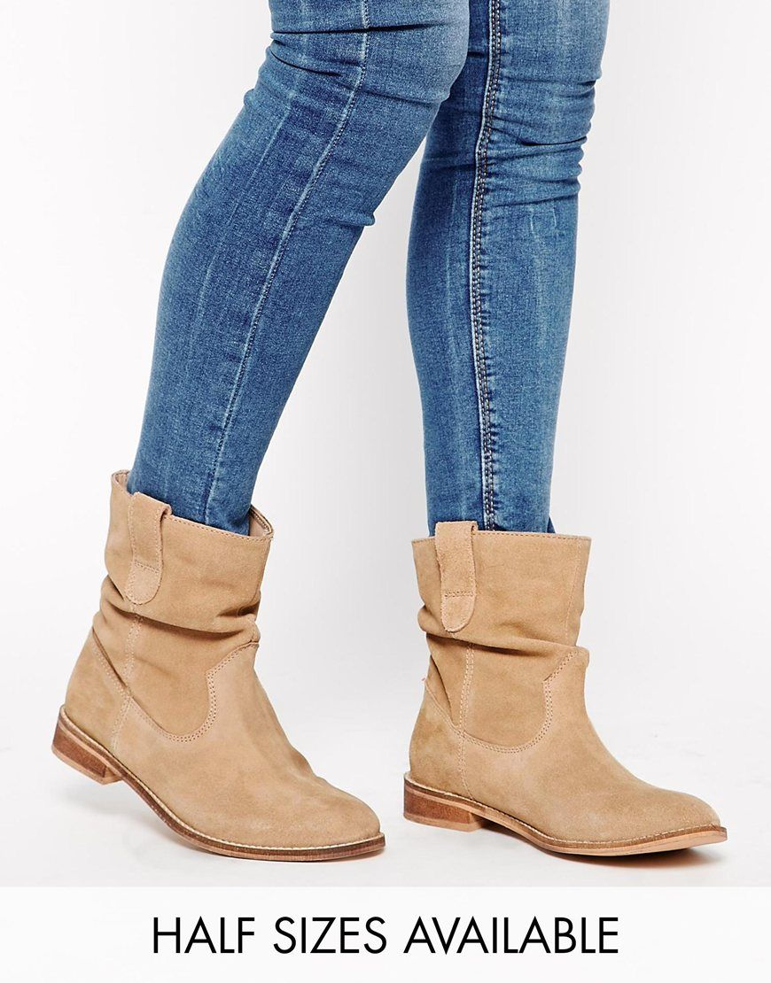 Image 1 of ASOS ALOOF Suede Pull On Ankle Boots