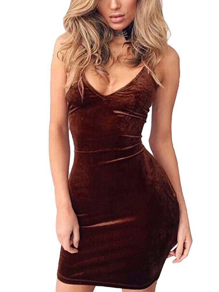 Spaghetti Strap Sleeveless Backless Velvet Sexy Short Club Dress ... 722d8cdba