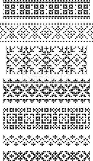 Photo of sett med sømløse geometriske grenser, broderikryss, vektor