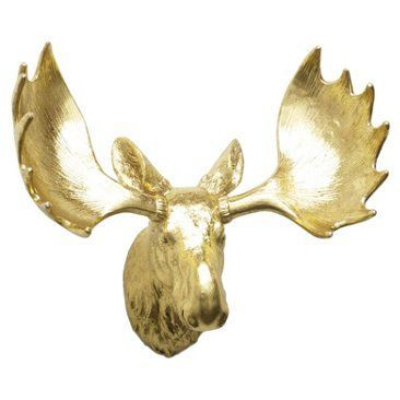 Check out this item at One Kings Lane! Moose Head Wall Decor, Gold ...