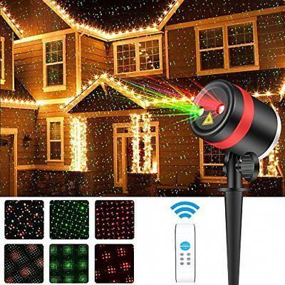 Christmas Laser Lights Show Red and Green Star Waterproof Outdoor