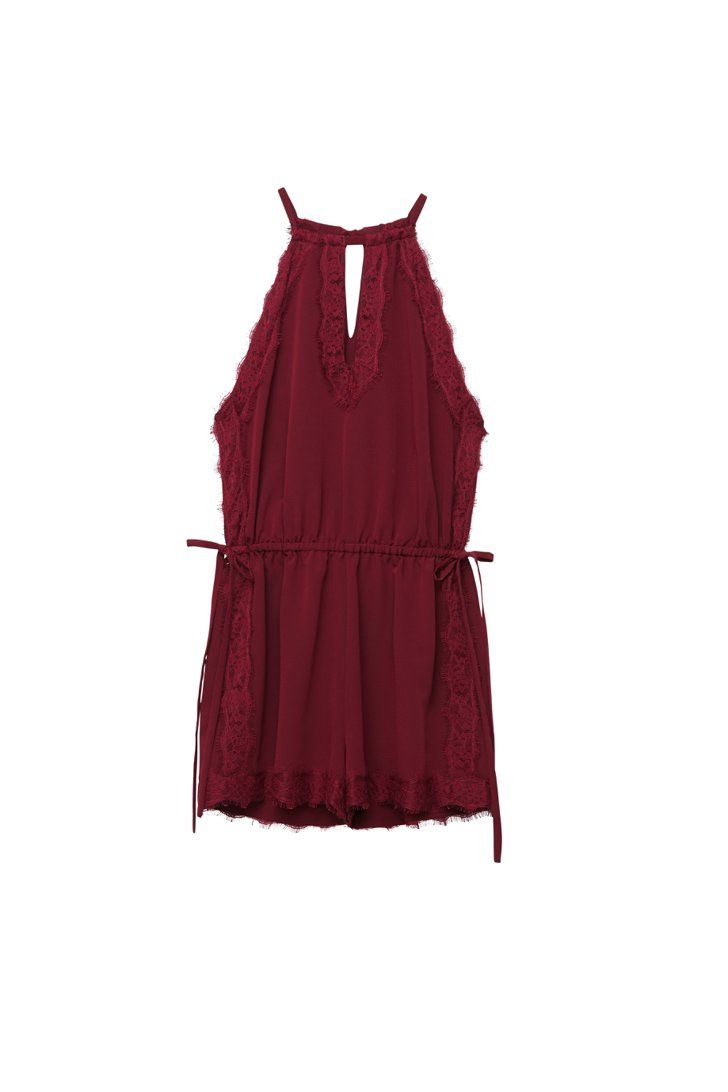 233627bd7025 Pin for Later  Kendall and Kylie s New PacSun Collection Is Like Nothing  You ve Ever Seen Before Kendall and Kylie x PacSun Maroon Lace Side Tie  Romper ...