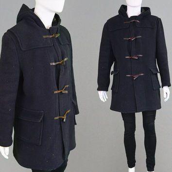 d5bb1bf2d Vintage 60s 70s Mens Duffle Coat Navy Blue Hooded Coat Toggle Coat ...