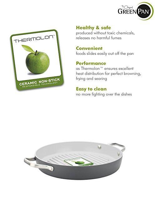 Greenpan Padova 11 Ceramic Non Stick Round Grill Pan With 2 Side Handles Grey