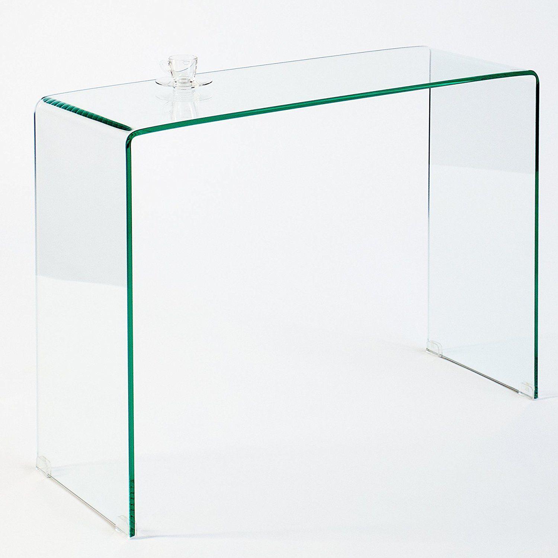 Schreibtischplatte glas  Extravaganter Glas Konsolentisch GHOST 100cm transparent ...