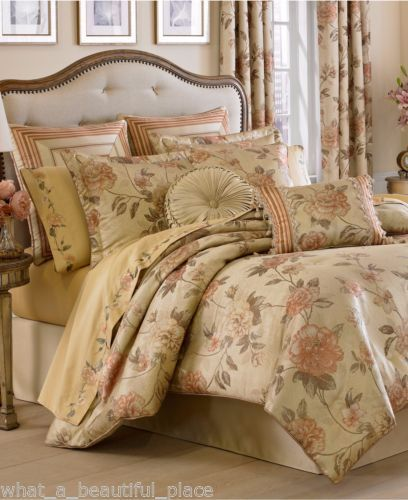 6-Pc-J-Queen-KING-Comforter-Set-Euro-Shams-French-Floral-Beige-Green-Coral-Gold