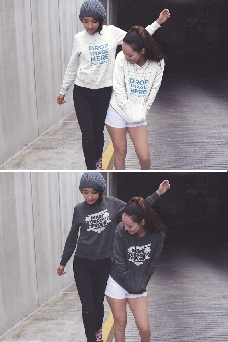 Download Two Girls Wearing Matching Designs On A Crewneck Sweatshirts And On A Pullover Hoodie While Having Fun In Th Hoodie Mockup Clothing Mockup Crew Neck Sweatshirt
