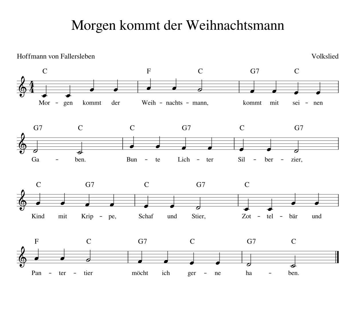 Morgen kommt der Weihnachtsmann Weihnachtslieder deutsch mit Noten ...