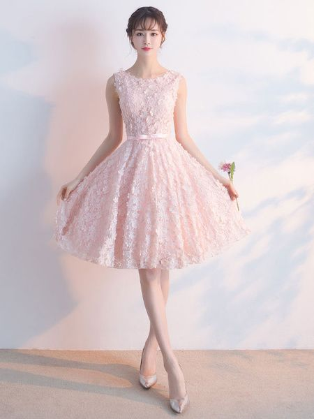3f0bb191b0b5 Soft Pink Prom Dress Lace 3D Flower Bow Sash Cocktail Dress Jewel  Sleeveless Knee Length A Line Homecoming Dress