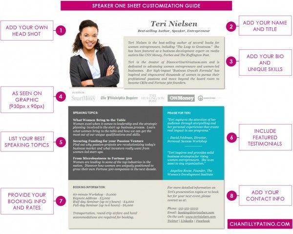 PRO Speaker One Sheet Template [DOWNLOAD] Word / Office365 | Speaker ...