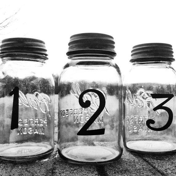 Wedding Table Number Centerpieces Mason Jar by DownInTheBoondocks