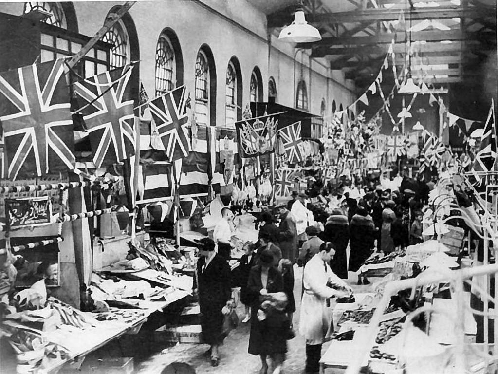 Bull Ring Market Hall in 1937, King VI coronation