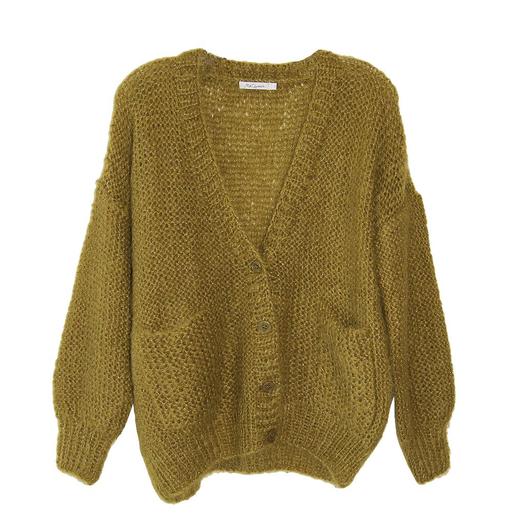 Mes Demoiselles Lloyd Cardigan - Olive Green Gold Sparkly Wool ...